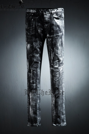 ByTheR Custom Cover Painting Silver Skinny Jean
