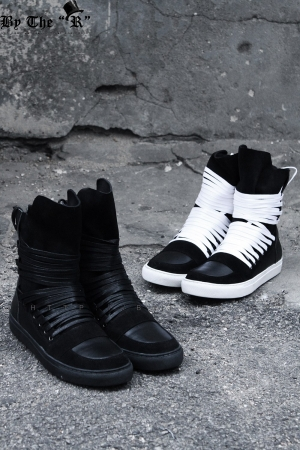 Multi Lace Leather High Top Sneakers(Restock, 7/19)
