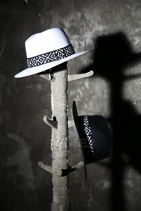Pattern Ribbon Straw Fedora