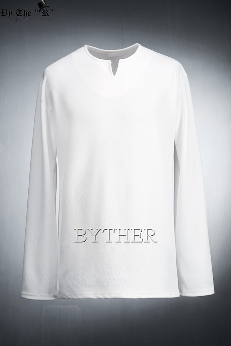 Embossed Slit Neck T-shirts
