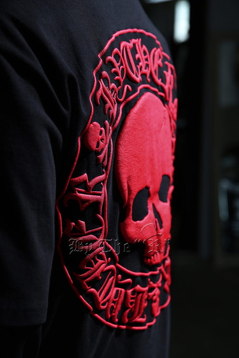 ByTheR Red Skull Logo Embossed T-Shirts
