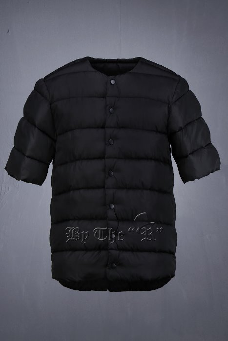 Snap Button Short Sleeve Padded Jacket
