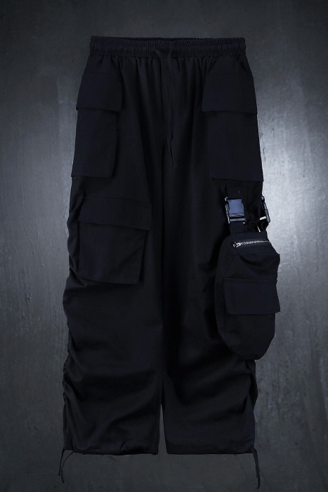 Side Shirring Wide Cargo Pants