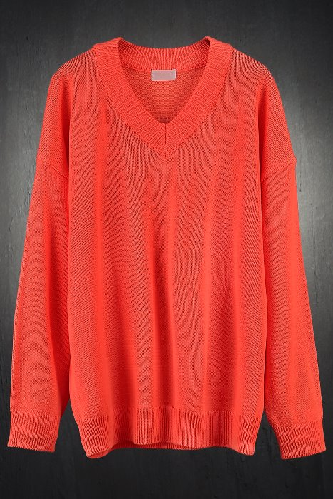 Neon Color Relaxed Fit V-neck Sweater