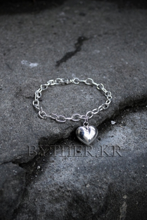 ByTheR Heart Medal Silver Bracelet