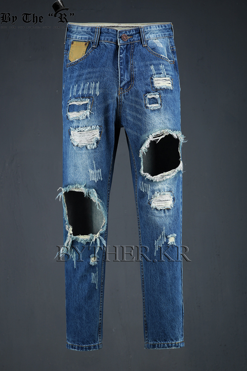 Leather Patched Destroyed Jean