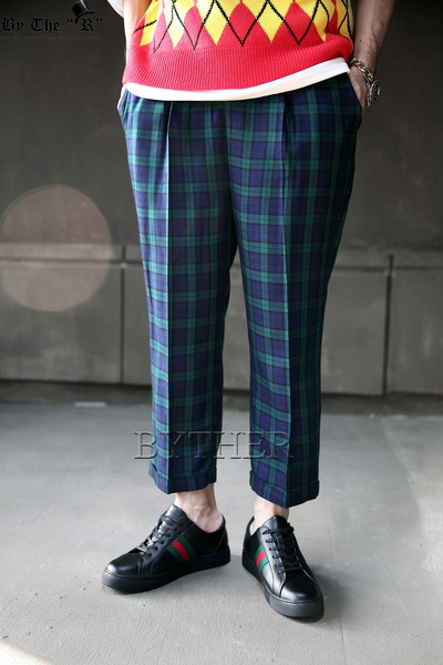 ByTheR Plaid Waist Band Wide Loose Slacks
