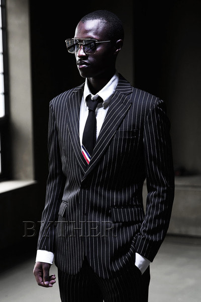 Black Pinstripe Two Button Jacket
