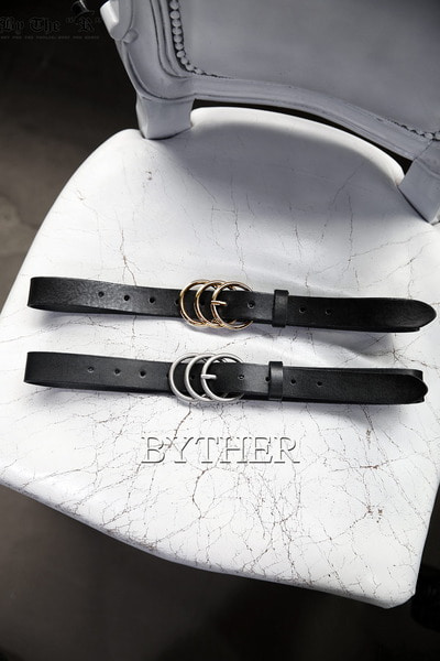 Triple Ring Buckle Leather Belt