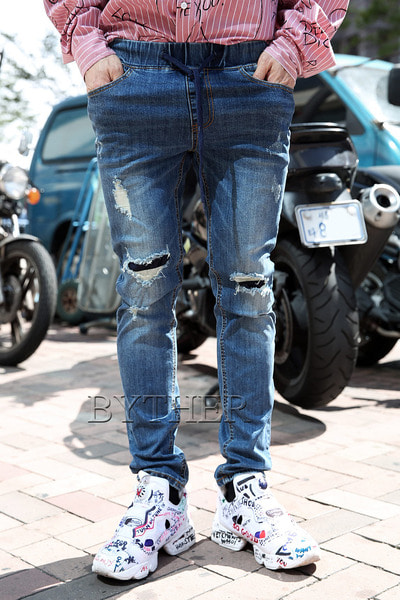 Damage Patch Banding Jeans