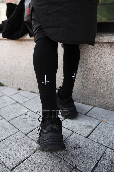 ByTheR X ProjectR Cross Embroidery Villus Leggings