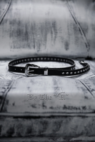 Round Studded Slim Leather Belt