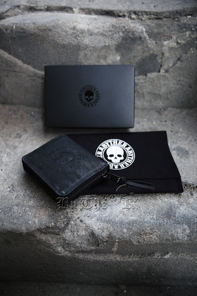ByTheR Skull Logo Goat Leather Zip Around Wallet