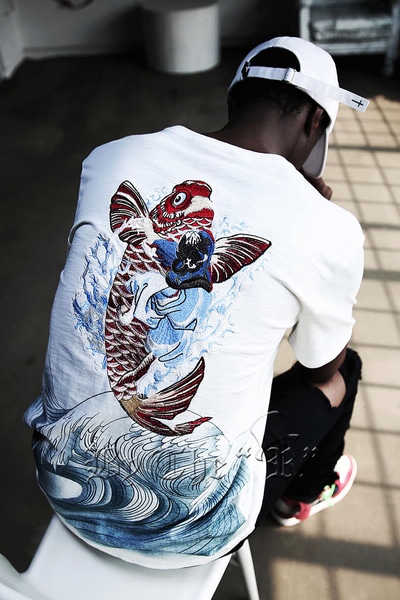 ByTheR Oriental Red Carp Girl Irezumi Embori T-shirt