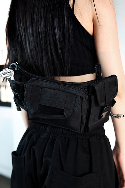 Black Zip Triple Sling Bag