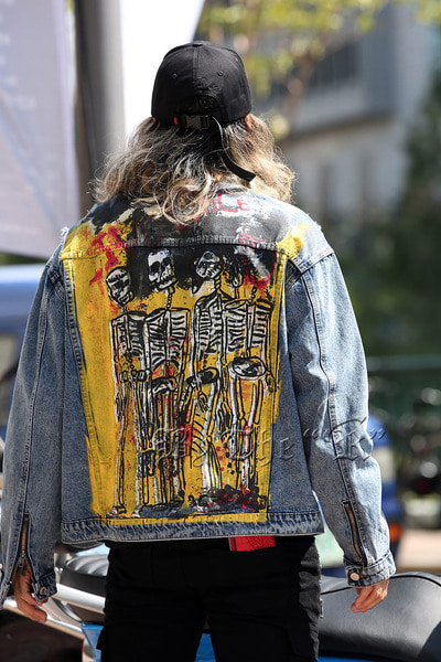 Skull Paint VIntage Blue Denim Jacket