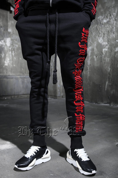ByTheR Red Slogan Embroidered Rope Band Jogger