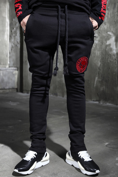 ByTheR Red Skull Logo Rope Bending Pants