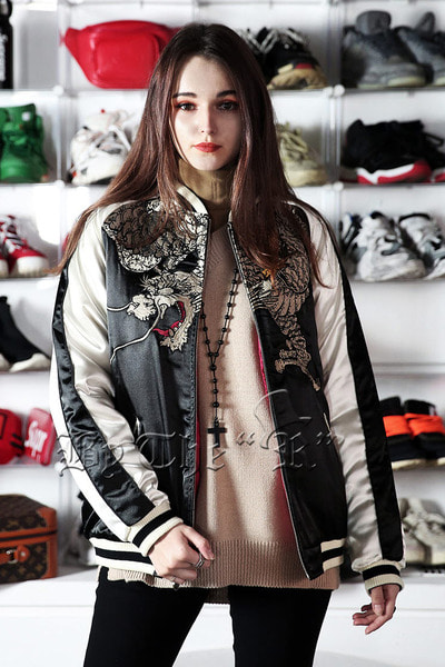 ByTheR Dragon Embroi Bomber Quilted Jacket