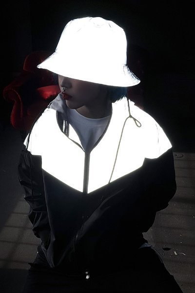V Two Tone Reflective Windbreaker Jacket