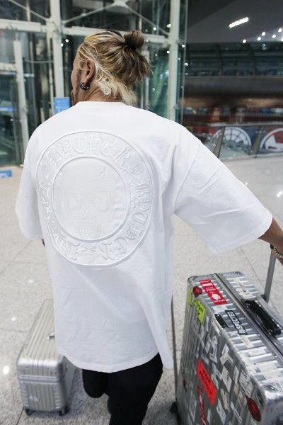 Skull Logo Embroidered Patch White T-shirt