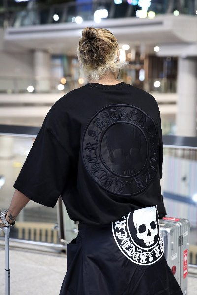 ByTheR Skull Logo Embroidered Patch Black T-shirt