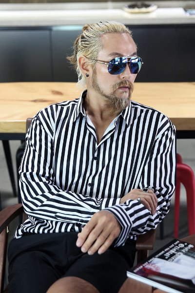 Block Striped Pattern Silket Shirt