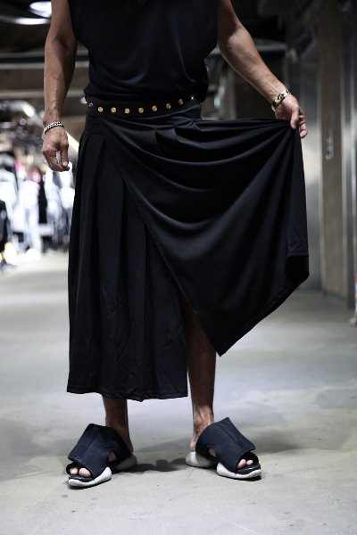 Button Wrap Pleated Skirt