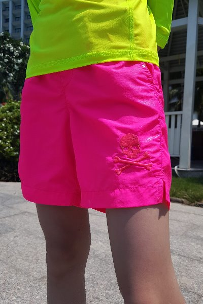ByTheR Kids Skull Embroidered Neon Pink Beach Shorts