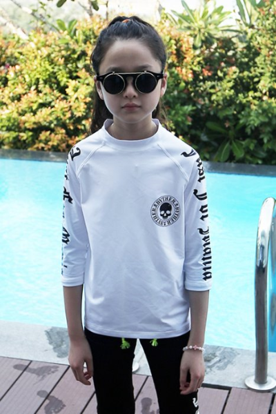 ByTheR Kids Skull Logo Printing White Rash Guard