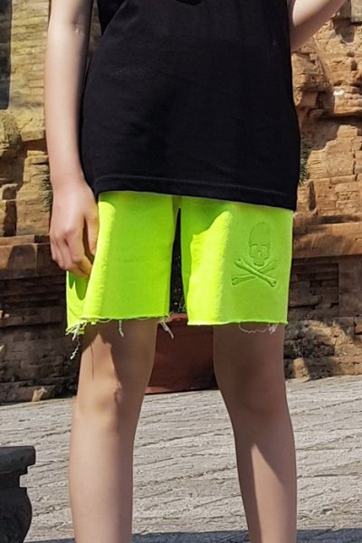 ByTheR Kids Neon Lime Color Cutting Shorts