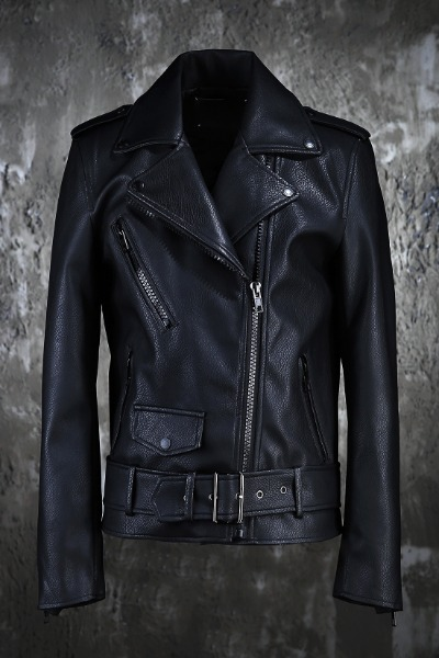 ByTheR Black Leather Belted Rider Jacket