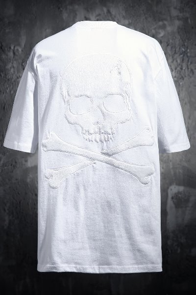 ByTheR Calf Skin Skull Patch Relaxed Fit Short Sleeve Tee White