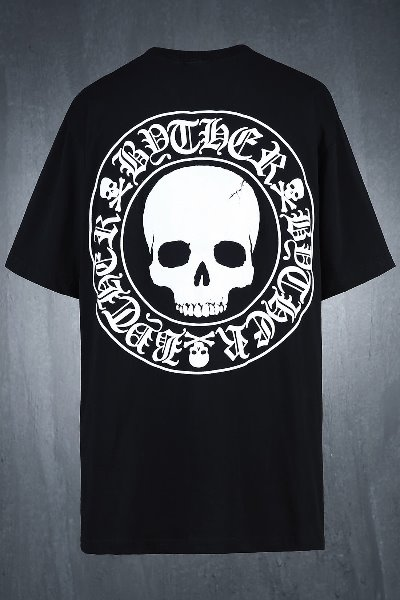 ByTheR Skull Logo Embossed Loose Fit Short Sleeve Tee Black