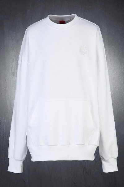 ByTheR Skull Embroidery Loose Fit Sweatshirt White