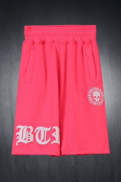 ByTheR Embossed Logo Print Loose Fit Shorts Pink