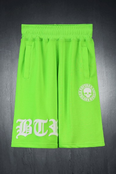 ByTheR embossed logo printed loose fit shorts lime
