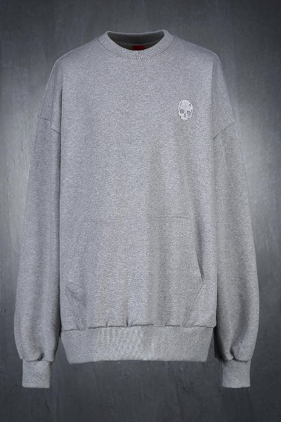 ByTheR Skull Embroidery Loose Fit Sweatshirt Gray
