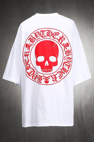 ByTheR Red Skull Logo Embossed Loose Fit Short Sleeve Tee White