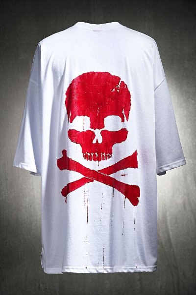 ByTheR Custom Red Skull Painting Loose Fit T-shirt