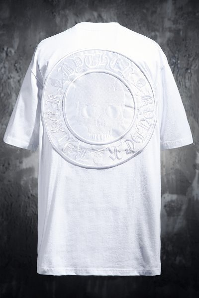 ByTheR Skull Logo Embroidered Patch Short Sleeve Tee White