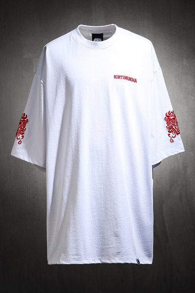 Mukha Sleeve Red Embroidered Short Sleeve Tee